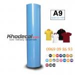 Decal PVC cuộn in ép nhiệt làm logo hình ảnh lên vải mầu xanh da trời